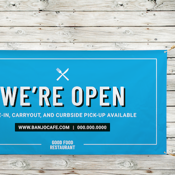 Retail signs, restaurant banners, open signs, opening banners